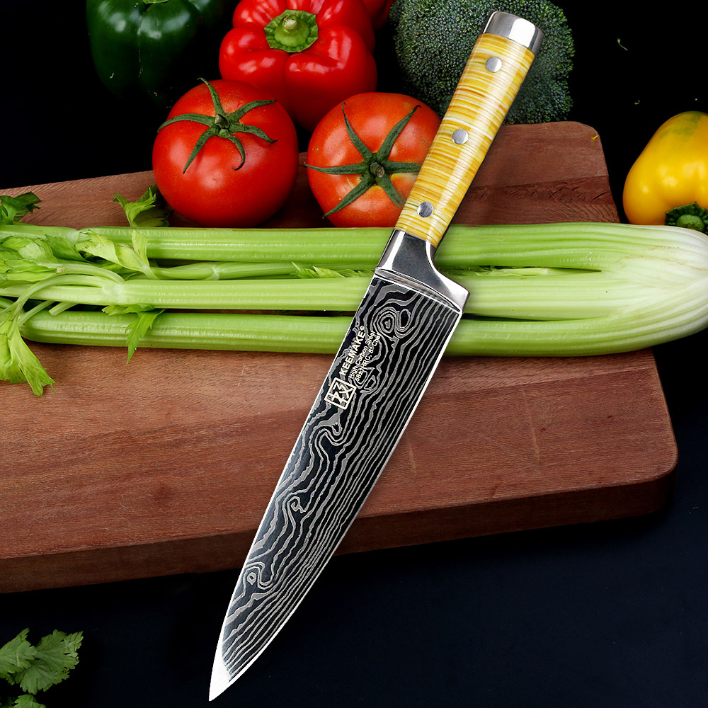 SUNNECKO 8 inch Kitchen Chef Knife Real Shell Handmade Handle with Mosaic Rivet High Carbon Steel