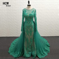 Green Mermaid Long Sleeve Prom Dresses Detachable Train Beaded Lace Floor Length Elegant Formal Dress 2017