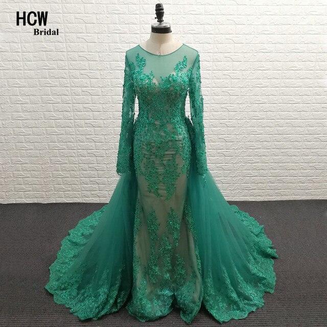Aqua Lace Long Sleeve Prom Dresses