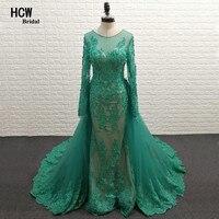 Green Mermaid Long Sleeve Prom Dresses Detachable Train Beaded Lace Floor Length Elegant Formal Dress 2018 Arabic Prom Gown Long