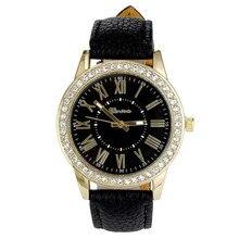 Fankris 2016 Geneva Women's Leather Band Roman Rhinestone Quartz Clock Hour Wrist Watch Watches Fashion Dress Waterproof