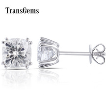 Transgems 14K 585 White Gold 2.2CTW 6mm GH Colorless Square Cushion Cut Moissanite Stud Earring Push Back for Women Fine Jewelry недорого