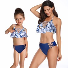 mother daughter swimwear family look mommy and me clothes ruffle bikini swimsuits mom mum mama dresses matching outfits
