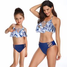 mother daughter swimwear family look mommy and me clothes ruffle bikini swimsuits mom mum mama daughter dresses matching outfits(Hong Kong,China)
