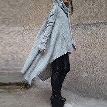 Preself толстовки свободные варежки одежда с длинным рукавом Нерегулярные капюшоном пуловеры негабаритных толстовка пальто асимметрия верхняя одежда модные женские туфли
