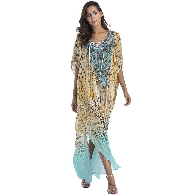 Большие Размеры шифон с модным принтом в богемном стиле Длинные платья Boho одежда 2018 Лето Сарафан Пляж Саронги Большие размеры Халаты женские