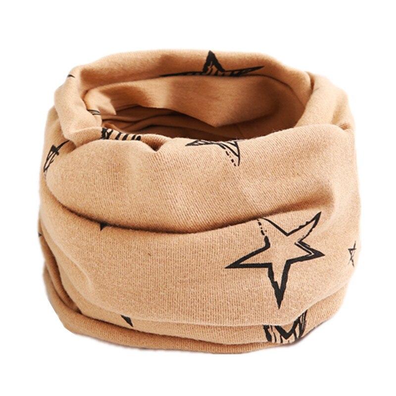 Осенне-зимний детский хлопковый шарф для девочек и мальчиков теплые шарфы Детский круглый кольцевой ошейник Детский шарф детский волшебный шейный платок - Цвет: coffee star