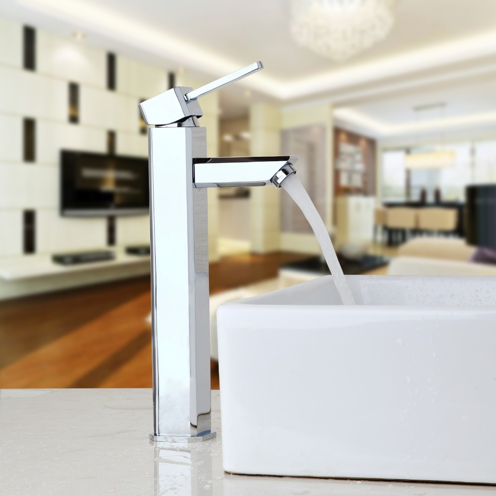 ФОТО Bathroom Faucet Chrome Finish Countertop Taps Bathroom Basin Sink Faucet Kitchen Hot & Cold Water Mixer Polish