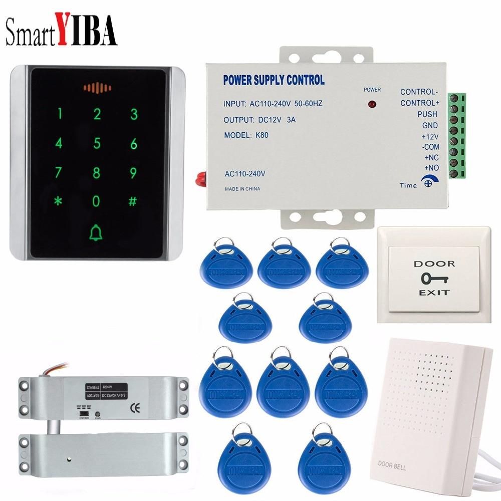 SmartYIBA système de contrôle d'accès à bouton tactile étanche Kit de verrouillage de porte RFID avec verrou électrique + porte-clés ouvre-porte RFID