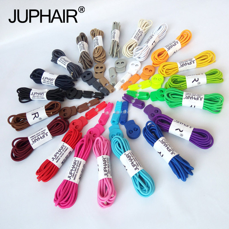 JUP 1 Pair Round Fashion No Tie Shoelaces Locking Shoes Laces Elastic Shoelaces for Shoestrings Jogging Triathlon Sports Fitness
