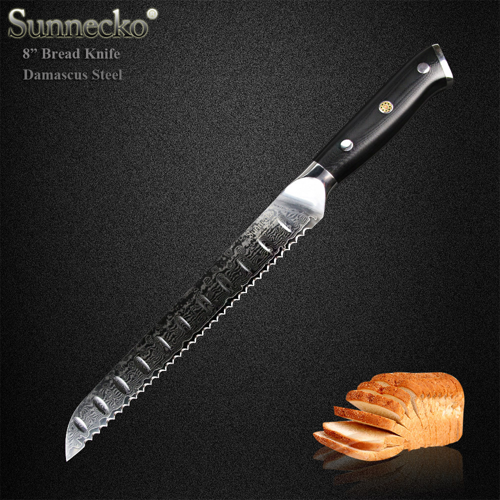 SUNNECKO Prime 8 pouces Couteau À Pain Japonais VG10 Noyau En Acier Lame Tranchante Damas Cuisine Couteaux G10 Poignée Gâteau Cutter outils