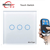 Remote 3 Gang 1 Way EU Standard Touch Switch Black White Gold Crystal Glass Switch Panel