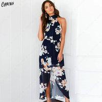Sexy Backless Halter Floral Front Split Maxi Dress Women Chiffon Navy Sleeveless 2018 High Street Summer