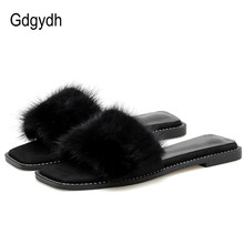 Gdgydh Open Toe Real Fur Flat Slippers Luxury Designer Women Indoor Shoes Summer For Girls Black Slip On Rubber High Quality(China)