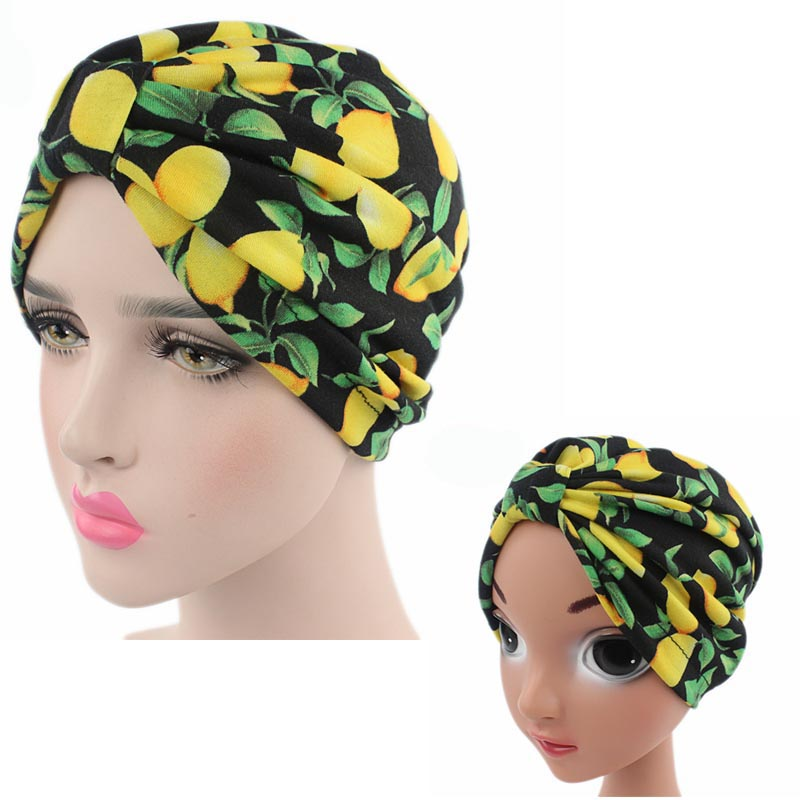 NEW fashion Parent Child fruit lemon and banana print Soft cotton Turban kids girls Headband Head Wrap Knotted Hair Band ...