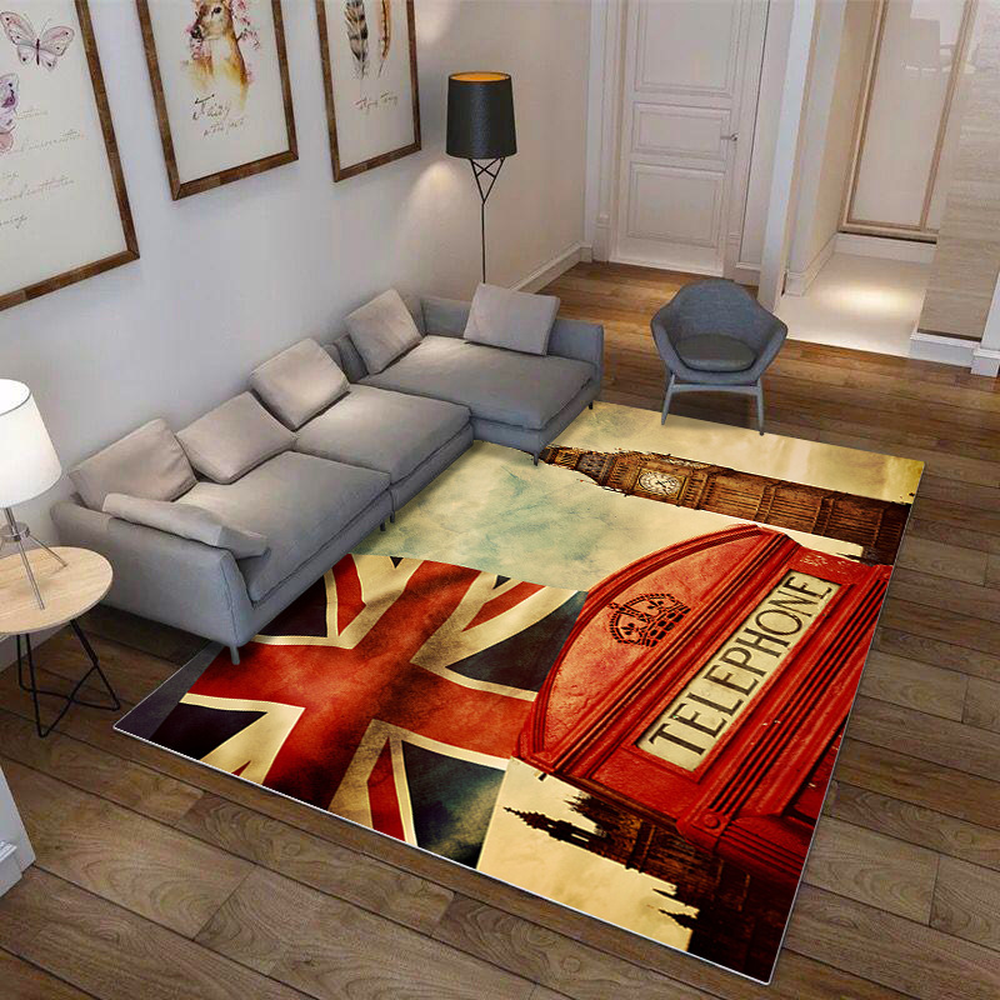 High Quality Retro Carpet London Flag Rugs Soft Anti-slip Suction Floor Mat Home Hotel Outdoor Bedroom Prayer Parlor Blanket