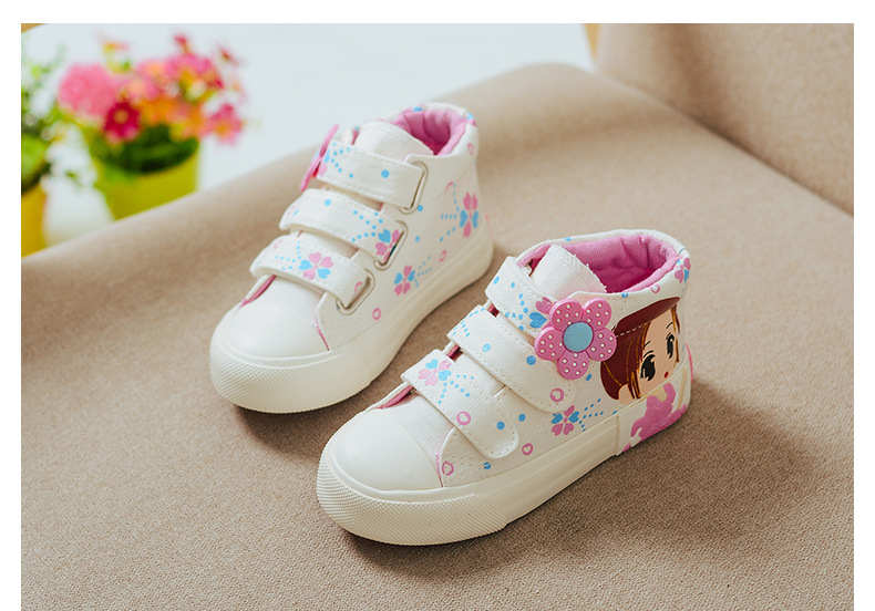 19 Spring Autumn Children Canvas Shoes Girls Fashion Sneakers 3 Colors High Baby Casual Shoes Breathable Princess Shoes 5