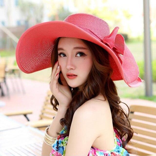 Летом Стиль Женщин Складная Широкий Большой Брим Beach Sun Hat Отпуск большой Лук Соломы Cap Для Дам Элегантные Шляпы Вводная Femme 1798