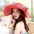 Summer Style Women Foldable Wide Large Brim Beach Sun Hat Vacation Big Bow Straw Cap For Ladies Elegant Hats Chapeau Femme 1798