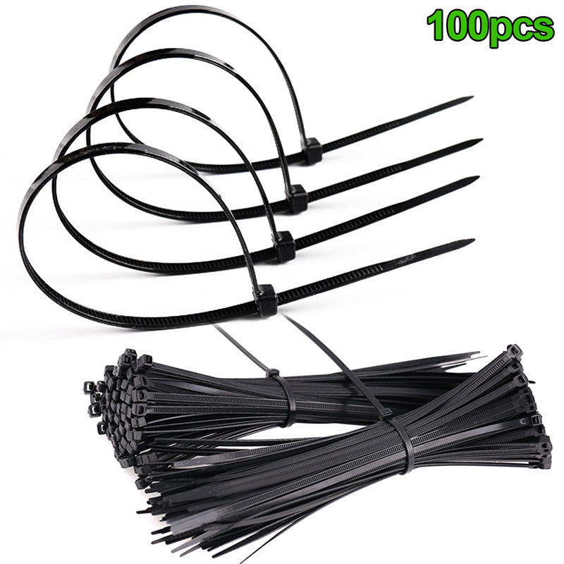 100 Pcs ABS Plastic Cable Ties Zip Fasten Wire Wrap Strap Fastening For Tent Bike Hiking Camping Multifunctional Outdoor Tools