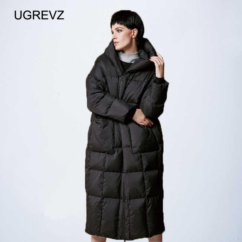 Kobiety luźny długi płaszcz dół zimowa ciepła kurtka kobieta Plus rozmiar płaszcz kurtka zimowa kobiety 2019 nowa przeszycia kurtka z kapturem