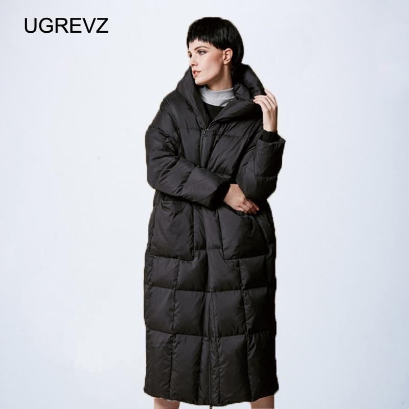 Women Loose Long coat Down Winter Warm Jacket Female Plus Size Overcoat Winter Jacket Women 2019 New Stitching Hooded   Parka