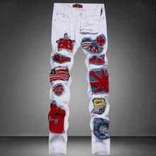 #2709 2017 weiße jeans männer Stickerei Flag Fashion Casual Herren jogger jeans Slim fit Jogger jeans Designer-jeans männer Punk