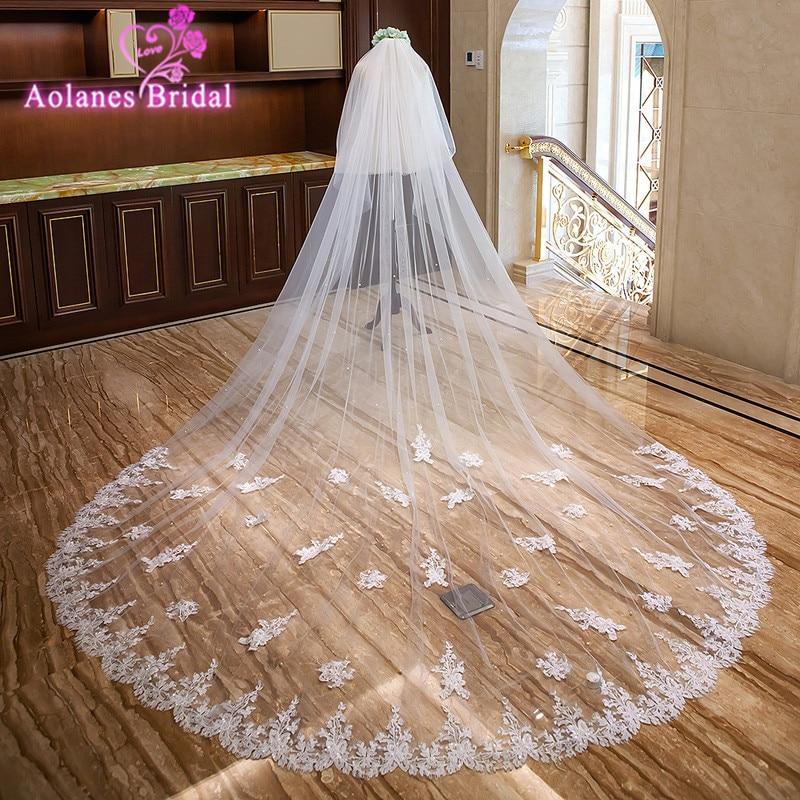 2018 New 3M 3.5M Long Natural White Ivory Sequins Applique Edge Bridal Veils Two-layer Cathedral Wedding Veil Velos De Novia
