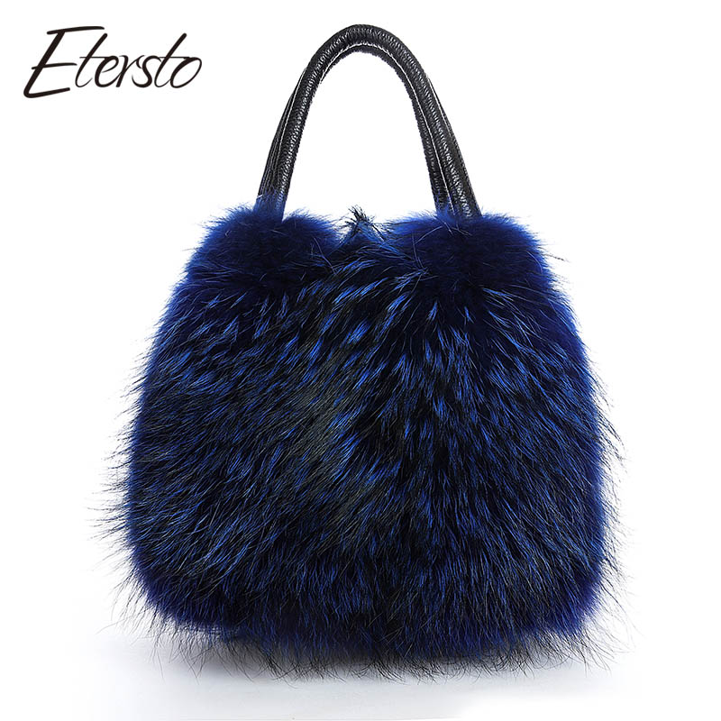 Etersto 2017 New Arrival Real Fur Bags Made By Whole Pieces Fox Fur Women Luxury Bags Real Fur Handbag Fox Fur Bags TWO Colors 2017 winter new clothes to overcome the coat of women in the long reed rabbit hair fur fur coat fox raccoon fur collar