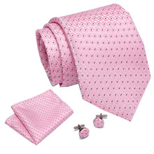 Mens Ties  Pink Plaid Paisley Silk Jacquard Tie Hanky Cufflinks Set Business Gift For Men drop Shipping