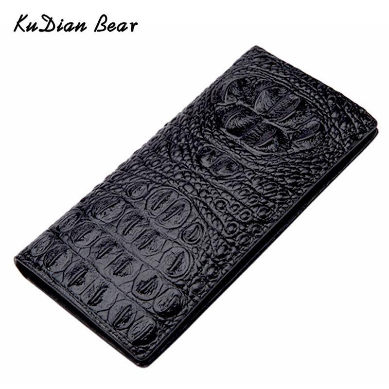 KUDIAN BEAR Minimalist Men Wallets Crocodile Designer Long Purse Card Holder Travel Card Wallet Carteira Portemonnee BID236 PM49