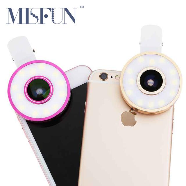 Clip Universal Autofoto Teléfono Celular Lente de La Cámara LED luz de Relleno de ojo de Pez lente gran angular macro para iphone 5 6 7 plus ios Andriod