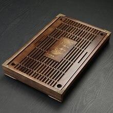 Bandeja de chá de madeira sólida drenagem armazenamento de água kung fu conjunto chá com gaveta mesa chá chinês sala chá placa cerimônia ferramentas
