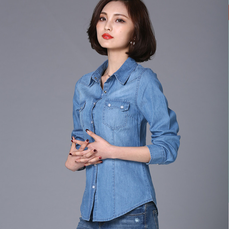 S-2XL Women's Denim Shirt Spring 2019 Autumn Fashion All-macth Solid Long-sleeve Denim Tops Cotton Girl Student Outerwear Female