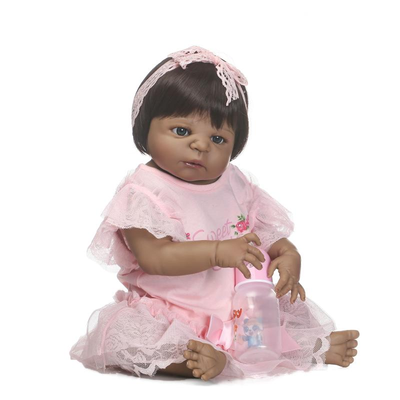 NPK Doll black skin Full Silicone Girl Pacifier model baby dolls Lifelike reborn baby Boneca bathable toys for children Gift npk black skin full silicone girl pacifier model baby dolls 56cm lifelike reborn baby boneca can enter water bath doll toys