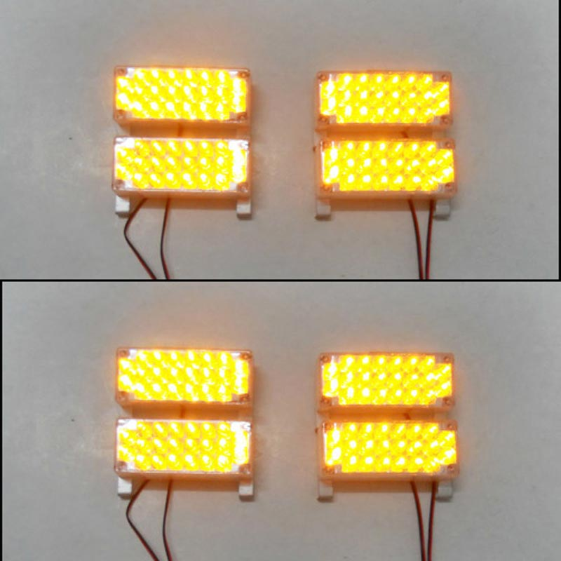 FREE SHIPPING AMBER CAR AUTO BUMPER GRILLE STROBE FLASH FLASHING WARNING EMERGENCY LAMP DRIVING RUNNING LIGHT 8X22 176LED