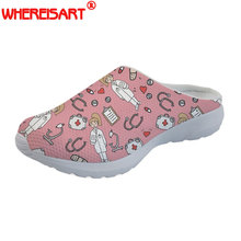 WHEREISART Sketch Medical Pink Women Sandals Summer 2018 Fashion Girls Slip-on Home Slippers Woman Casual Beach Shoes