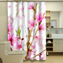 New 3D Shower Curtains Pink Peach Blossom Pattern Waterproof Fabric Bathroom Curtains Washable Bathroom Products +12 C Type Hook