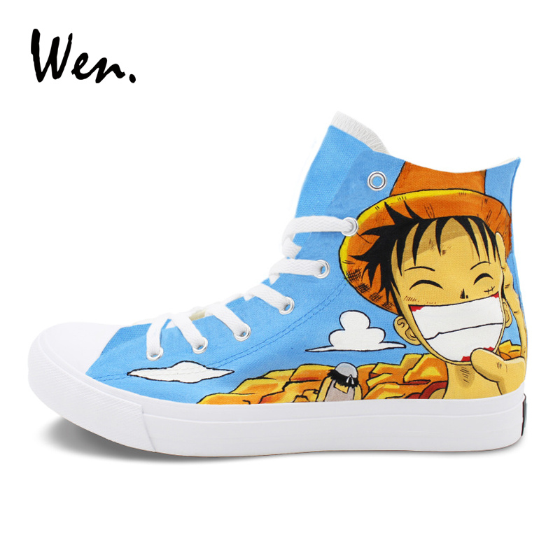 Wen Man Woman Hand Painted Canvas Sneakers Sport Skateboarding Shoes Custom Design One Piece Luffy Anime Shoes