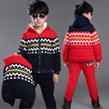 Fashion Winter Coats Kids Boys Girls 3 Pcs Set Warm Tshirts Vest Pants Suits Children Clothing  4 years - 14 years