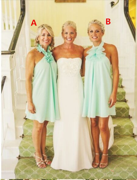 2017 Short Bridesmaid Dress Elegant Beach Weddings Y Halter Ruched Mint Green Chiffon Backless Vestido De