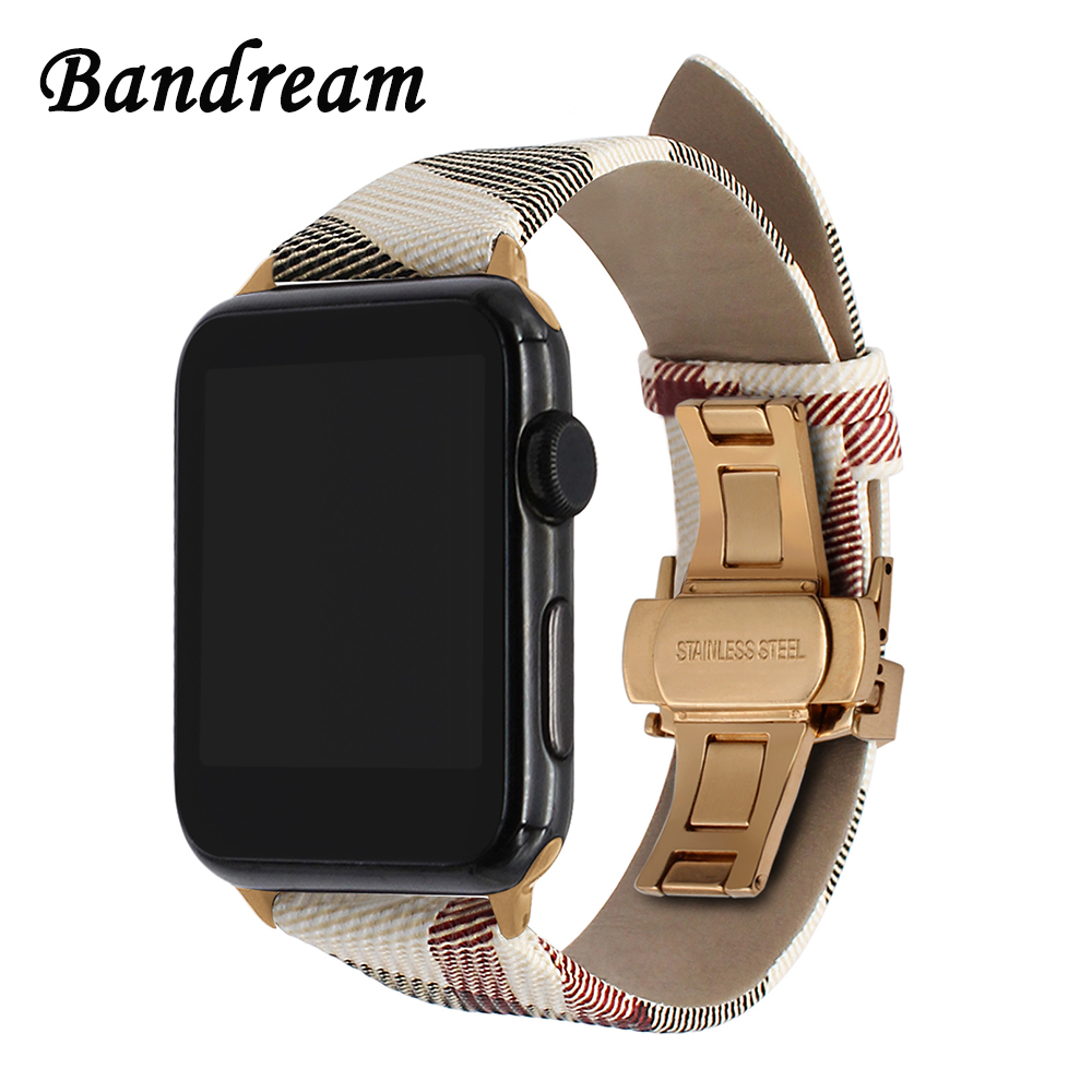 Genuine Leather Watchband BU Design for iWatch Apple Watch 38mm 42mm Series 3 2 1 Band Stainless Steel Butterfly Buckle Strap kakapi crocodile skin genuine leather watchband with connector for apple watch 38mm series 2 series 1 pink
