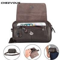 CHEZVOUS Genuine Leather Waist Bag Belt Pouch For Samsung Case Shoulder Bag For Below 6 5