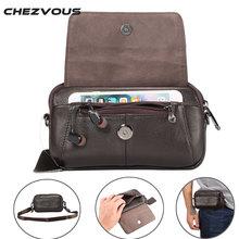 CHEZVOUS Genuíno Saco Da Cintura de Couro Bolsa de Cinto para o Caso Samsung Bolsa de ombro para Abaixo de 6.5 Telefones Inteligentes Homens de Moda Mão saco