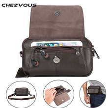 CHEZVOUS Genuine Leather Waist Bag Belt Pouch for Samsung Case Shoulder Below 6.5 Smart Phones Fashion Men Hand