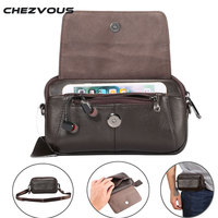 CHEZVOUS Genuine Leather Waist Bag Belt Pouch For Samsung Case Shoulder Bag For Below 6 5