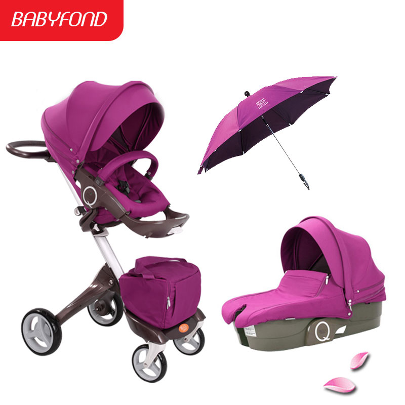 EU baby stroller baby high landscape folding strollers bi-directional reclining stroller baby can sit and lie pram все цены