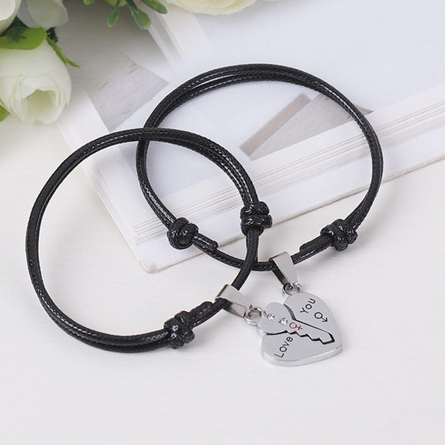2PCS Couple Bracelets Love Key Pendant Accessories Vintage Rope Chain Adjustable Fashion Jewelry Bracelet Gifts for Lovers