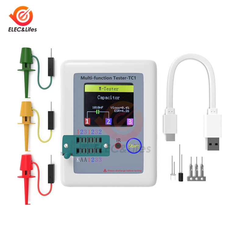 LCR-TC1 160*128 pantalla a Color LCD TFT de gráfico PNP, Transistor NPN Tester multímetro de triodo medidor de capacitancia resistencia de prueba