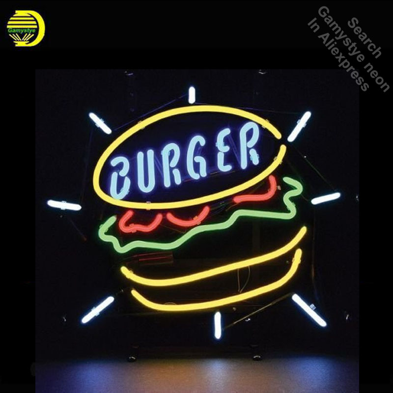 Burger Food Neon Sign Restaurant neon bulb Sign neon lights Brand LOGO Sign glass Tube Handcraft Iconic Sign Display light up